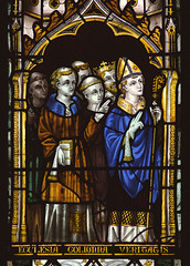 """Worfield, Shropshire, """"St. Peter's"""", St. Nicholas's chapel, stained glass window, detail (groenling) Tags: uk greatbritain england stpeters window glass saint john shropshire britain mary jesus stainedglass gb bishop crucifixion salop worfield scrope"""