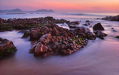 Sunrise scene at Tennetti park beach, Visakhapatnam (v_2shaib) Tags: sunset lake seascape sunrise landscape fisherman nikon rocks vizag visakhapatnam