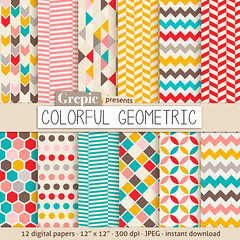 """Geometric digital paper: """"COLORFUL GEOMETRIC"""" digital paper pack with happy colorful geometric patterns for scrapbooking, invites, cards (workyourart) Tags: geometric triangles digital paper rainbow colorful background patterns retro dots honeycomb chevron"""