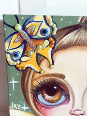 """""""Bejewelled Moth Fairy"""" Original Painting by Jaz Higgins (Jaz Higgins) Tags: cute eye art girl fairytale big eyes doll artist surrealism jasmine moth australian surreal pop fairy fantasy faery surrealist eyed fairies higgins browneyes jaz faeries whimsical lowbrow armygreen fae bejewelled"""