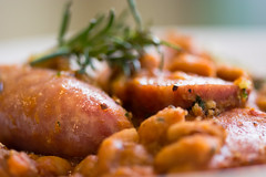 Cassoulet Toulousain, detail of sausages (Ian Redding) Tags: uk food france cooking dinner recipe lunch stew restaurant cookbook beans bath dish quality traditional casserole best pork rosemary sausages classical dishes toulouse cassoulet popular garnish entrée gastronomy prepared frenchcuisine macuisine toulousain