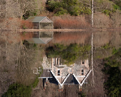 Time to Reflect (strachcall) Tags: trees house water reflections landscape scotland milton boathouse trossachs 5x4 lochard