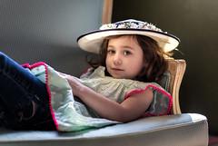 In my Easter bonnet (dshoning) Tags: portrait girl hat toddler dress jeans windowlight easterbonnet 52weeksof2016