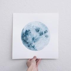Aphrodite (*tinywingedfox) Tags: blue moon watercolor painting artwork originalart fullmoon artists bluemoon artstudio watercolormoon instagram
