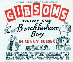 Gibsons Holiday Camp, Bracklesham Bay - 1961 advert (trainsandstuff) Tags: advertising retro gibsons advert southdowns holidaycentre brackleshambay holidaycamp