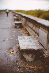 Gone (Sator Arepo) Tags: park leica france leaves stone bench 50mm bokeh montpellier f1 gone noctilux m9 leicam9