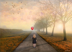 Girl (Jean-Michel Priaux) Tags: road red girl female photoshop lost scary waiting ballon paysage scare hdr ligne balon terrific lonesome lonery