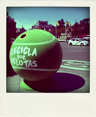 Recycling balls (srgpicker) Tags: madrid verde green ball taxi tennis tenis recycling cibeles pelota reciclar reciclaje fakepolaroid poladroid