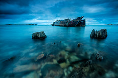 Greenpoint (robjdickinson) Tags: ocean new sea water sunrise cloudy zealand shipwreck greenpoint southland bluff