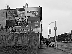 Think Fresh (Robert S. Photography) Tags: street nyc bw food man rain brooklyn canon fence buildings ads scene powershot drinks april billboards 2016 coneyislandave elph160