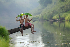 Happy moments (SaravutWhanset) Tags: life travel camping boy summer baby fish green water beautiful childhood kids river children asian outdoors leaf kid fishing fisherman holding asia sitting child lifestyle full barefoot years length ethnicity 89 exploer inexploer