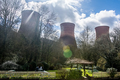 Just give me the warm power of the sun (OR_U) Tags: park uk red people sun fence picnic power surrealism surreal ironbridge oru powerplant powerstation coolingtowers 2016 hff peterpaulandmary buildwaspowerstations ironbridgepowerstations