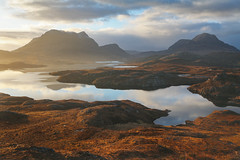 Look to the East.. (Davescunningplan) Tags: cloud reflection sunrise landscape dawn golden scotland still scenic serene loch tranquil subtle assynt