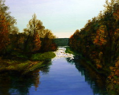 Painting By Pete Jendro, Minnesota Artist, Late Fall On The St. Croix, Acrylic On Canvas, Measures 16 x 20 Inches (France1978) Tags: stcroixriver riverscene minnesotaart petejendro petejendrominnesotaartist petejendrominnesotapainter
