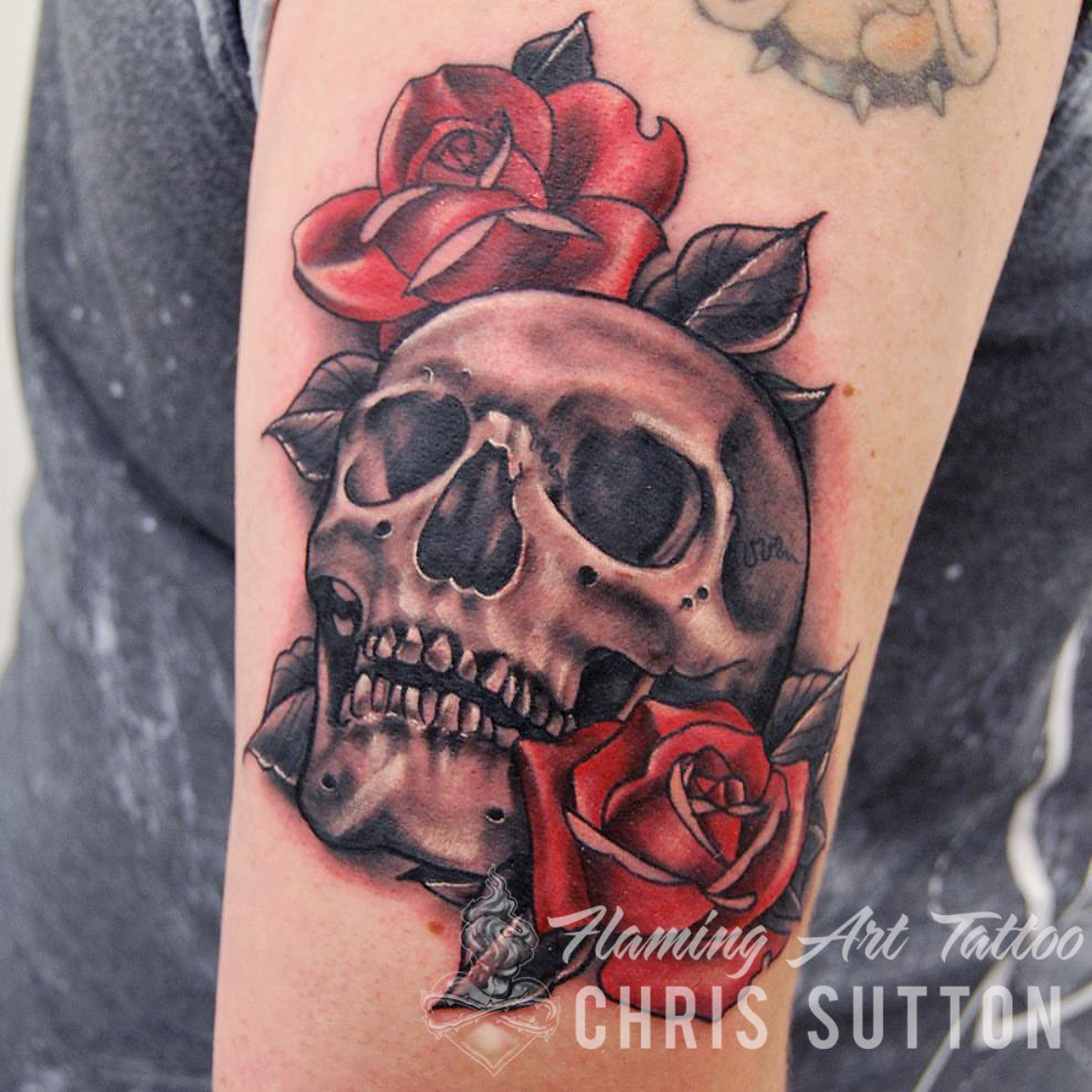 76fbd32afdc Skull  amp  Roses (Chris Sutton Tattoo) Tags  uk england london art rose