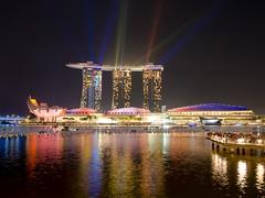 Marina Bay Sands Hotel with Lasershow (Saaliahc) Tags: city lake colors skyline night singapore asia citylights nightlife singapur omdm5