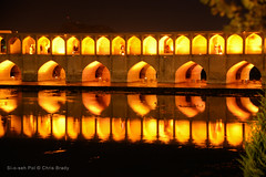 Si-o-seh Pol, Esfahan (Chris Brady 737) Tags: bridge reflection night iran 33 arches esfahan isfahan siosehpol