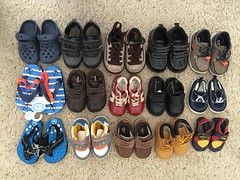 our 1yo has accumulated a lot of new shoes from family and friends. Add these new ones to the ones that his elder brother handed down to him and I think we have the same number of shoes! Oh boy. (Travel Galleries) Tags: boy baby cute feet kids children foot outfit shoes babies little adorable lot wear collection toddlers ones slippers ootd