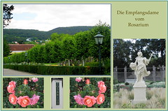 Collage mit Empfangsdame :-) (Dieter14 u.Anjalie157) Tags: wien park sterreich eingang urlaub blumen schild rosen baden garten zwei figur bei outdoo badenbeiwien weiblich rosarium