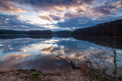 Reflections at Wahoo Creek (John Cothron) Tags: longexposure sky usa reflection clouds digital sunrise georgia landscape dawn morninglight us spring twilight unitedstatesofamerica gainesville scenic naturallight deadtree lakeshore thesouth dixie 15mm lakelanier carlzeiss cloudyweather hallcounty americansouth southernregion 35mmformat 5dmarkii 5d2 5dii johncothron 5dmkii canoneos5dmkii southatlanticstates leefiltersystem cothronphotography 3stopneutraldensityfilter 3stopsoftedgegraduatedneutraldensityfilter wahoocreekpark distagon1528ze lee90nd lee90gs zeissdistagont2815mmze ©johncothron img13464160326 reflectionsatwahoocreek