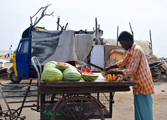 Roadside Snacks (The Spirit of the World) Tags: food india fruit asia watermelon snack vendor local melons everydaylife southernindia roadsidetreats