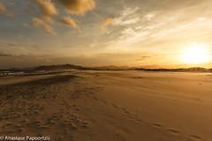 Footsteps on Sunset (anastase.papoortzis) Tags: blue sunset brazil sky seascape water yellow brasil clouds landscape dusk natureza paisagem santacatarina atlanticocean goldenhour guardadoemba palhoa