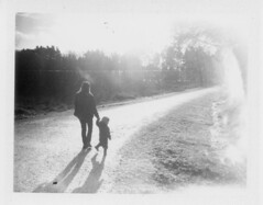 (Matt Chalky Smith) Tags: shadow blackandwhite forest walking polaroid woods winterlight polaroid195 roidweek 3000b fuji3000b expired2012
