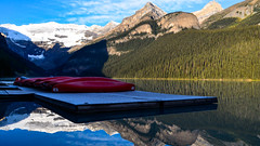 Morning at the Canoe Dock (Marc Dario) Tags: canada mountains nature clouds landscape alberta banff lakelouise