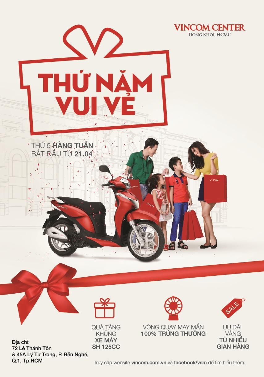 Ưu đãi vàng 'Thứ Năm Vui Vẻ' tại Vincom Center Đồng Khởi