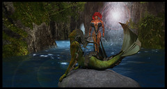 Mermaid (Diablo Balazic) Tags: sexy statue river waterfall fantasy secondlife jungle swamp diablo mermaid