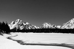 The Grand Tetons over Jackson Lake (P'naiOrr) Tags: trees winter sky blackandwhite lake snow mountains ice water monochrome beautiful beauty rock landscape spring monochromatic evergreens tetons nationalparks pone