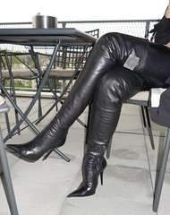 Rosina in the restaurant (Rosina's Heels) Tags: leather high boots thigh heel stiletto overknee