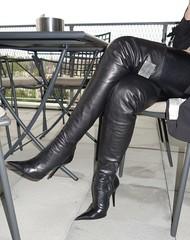 Rosina in the restaurant (Rosina's Heels) Tags: leather high boots thigh heel stiletto overknee