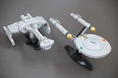 Klingon Battlecruiser and USS Enterprise (Riskjockey) Tags: startrek lego klingon d7 battlecruiser