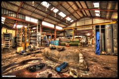 Boat in the Warehouse (Fisheye Creation) Tags: urban brittany bretagne warehouse hdr usine urbex lorient bracketing