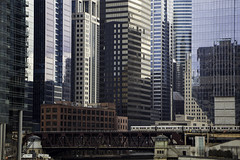Lake Street (aerojad) Tags: winter chicago skyline skyscraper train cityscape cta skyscrapers tracks thel