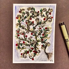 Little Roses (postcard) (marusaart) Tags: art rose ink watercolor painting artist mixedmedia postcard watercolour aquarel aquarell tusche marusaart