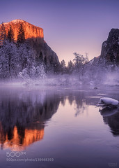 Light of... (Waubble) Tags: park travel blue trees winter light sunset sky sun mist mountain lake snow mountains reflection tree water forest haze national yosemite 500px ifttt