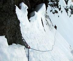 The Traverse Ledge (Dru!) Tags: mountain snow canada ice bc britishcolumbia traverse alpine ledge cascades iceclimbing northcascades cornice headwall cascademountains alpinism alpinist hozameenrange iceclimb mountrideout sumallo minussix hoperange minus6 maximdejong minus6rideout