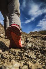 Almost a dead worm (52weeks2016#06 - A worm's eye view) (ponzoñosa) Tags: trekking dof view hiking ground murcia step vista worm gusano suelo 52weeks pisada calnegre