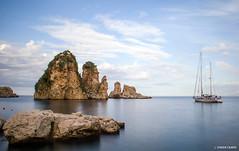 Tavola blu (Gio Case) Tags: blue autumn sea italy white water clouds boat october italia sicily sicilia trapani faraglioni scopello