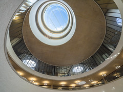 Blavatnik School of Government (Bruce Clarke) Tags: bsg glass olympus building modernarchitecture jericho atrium circular herzogdemeuron windows blavatnikschoolofgovernment publicopenday waltonstreet zd714mm omdem1 m43 college education laingo'rourke radcliffeobservatoryquarter architecture spiral teaching leonardblavatnik concrete roq stacked staircase universityofoxford