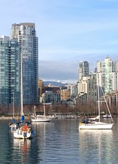 The Lions framed by yachts (Ruth and Dave) Tags: city sea mountains vancouver buildings boats cityscape skyscrapers framed towers falsecreek inlet yachts thelions