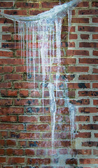 Hanging Ice And Brick Wall (gmsphoto) Tags: winter stilllife cold ice digital cool support freezing simplicity repetition balance suspended redbank stress icicles contrasts challenge struggle officeart persistence interiordecorating