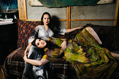 The painting (dawolf-) Tags: woman dress painting vintage art couch feet couple flash strobe indoor portrait girls relax weekend portfoliotheatrical