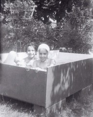 1955 - Nassau County, New York - Home Made Pool (ramalama_22) Tags: family home water pool yard back store sister cement made 1950s cousin block kit department plywood