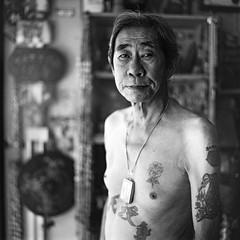 Yeo's Tattoo, Kuching Sarawak - Borneo (P_mod) Tags: blackandwhite white black film tattoo ink square hasselblad borneo iban pmod