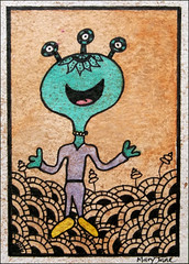 Alien ATC (purple_24) Tags: atc alien arttradingcard swapbot zentangle zendoodle