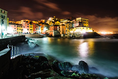 Boccadasse by Night (Fili1939) Tags: travel sea italy photography lights nikon long exposure italia mare waves angle ngc wide genova national ultra geographic 1024 boccadasse d300