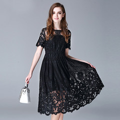 Short Sleeve Hook Hollow Lace Midi Dress (lanytrends) Tags: girl beautiful beauty fashion lady shopping clothing women dress lace style clothes lacedress